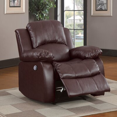 Patton Power Recliner Upholstery: Brown