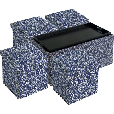 Morgan 5 Piece Storage Ottoman Set