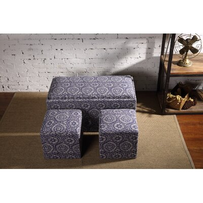 Mahoney 3 Piece Storage Bench and Ottoman Set