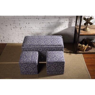 Mahoney 3 Piece Storage Bench and Ottoman Set