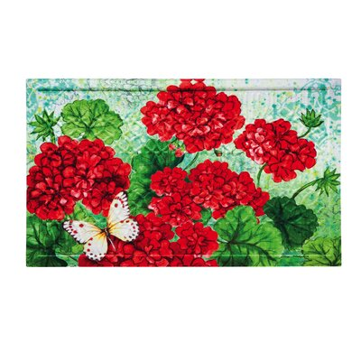Southridge Red Geraniums Embossed Doormat