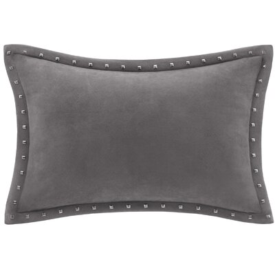 Springfield Stud Trim Microsuede Throw Pillow Color: Gray
