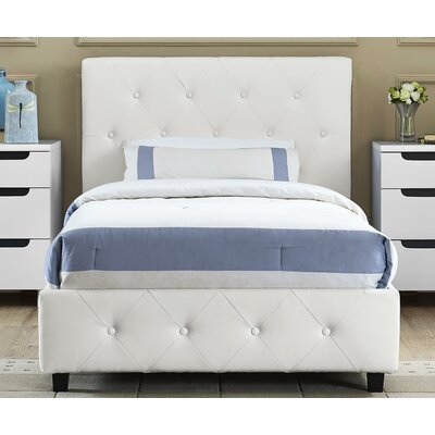 Salina Upholstered Platform Bed Size: Twin, Color: White