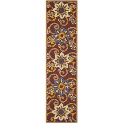 Doyle Burgundy Outdoor Area Rug Rug Size: Runner 23 x 8
