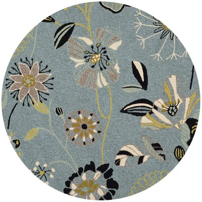 Ridgefield Blue Outdoor Area Rug Rug Size: Round 6