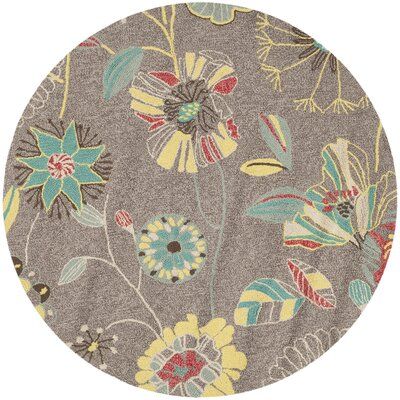 Doyle Grey & Blue Outdoor Area Rug Rug Size: Round 4