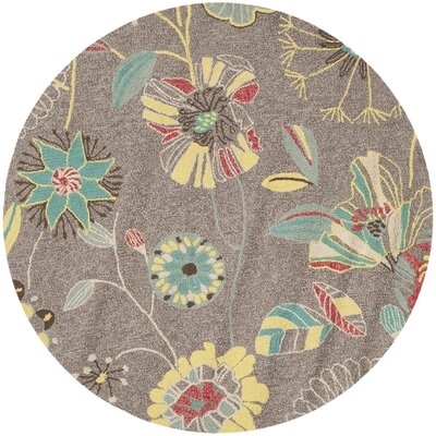 Ridgefield Grey & Blue Outdoor Area Rug Rug Size: Round 6