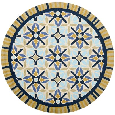 Doyle Tan/Blue Indoor/Outdoor Area Rug Rug Size: Round 4'
