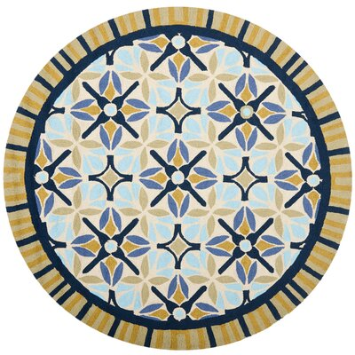 Doyle Tan/Blue Indoor/Outdoor Area Rug Rug Size: Round 6