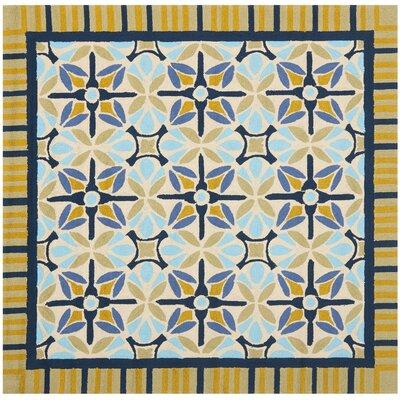 Doyle Tan/Blue Indoor/Outdoor Area Rug Rug Size: Square 6