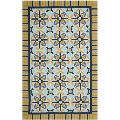 Doyle Tan/Blue Indoor/Outdoor Area Rug Rug Size: Rectangle 5 x 8