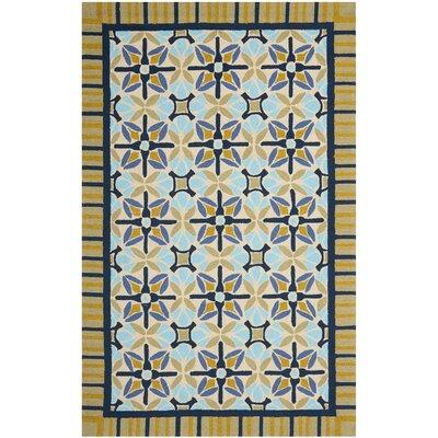 Doyle Tan/Blue Indoor/Outdoor Area Rug Rug Size: 5 x 8