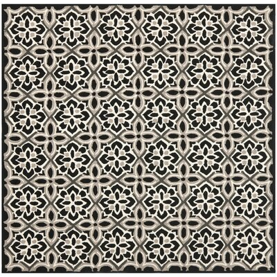 Doyle Black/Ivory Outdoor Area Rug Rug Size: Square 6