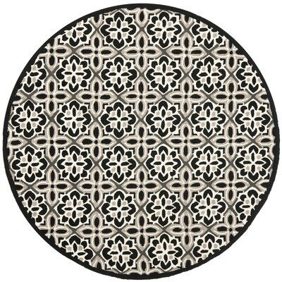 Ridgefield Black/Ivory Outdoor Area Rug Rug Size: Round 4