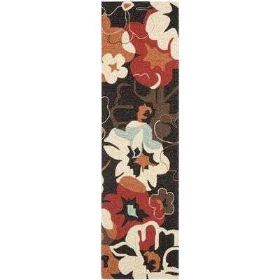 Ridgefield Black/Orange Outdoor Area Rug Rug Size: Runner 23 x 8