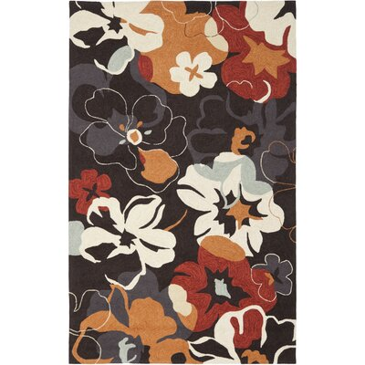 Doyle Black/Orange Outdoor Area Rug Rug Size: 36 x 56