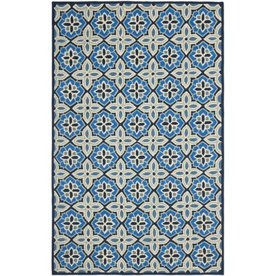 Doyle Blue Hooked Outdoor Area Rug Rug Size: 5 x 8