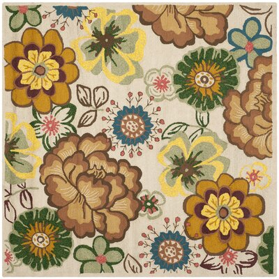 Doyle Ivory/Brown Outdoor Area Rug Rug Size: Square 6