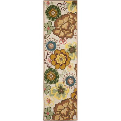 Doyle Ivory/Brown Outdoor Area Rug Rug Size: Runner 23 x 6