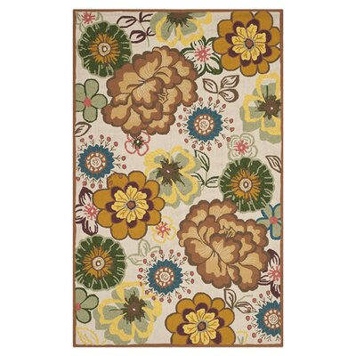 Doyle Ivory/Brown Outdoor Area Rug Rug Size: 36 x 56
