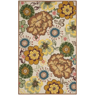 Doyle Ivory/Brown Outdoor Area Rug Rug Size: 5 x 8