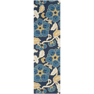 Doyle Navy/Yellow Floral and Plant Area Rug Rug Size: Runner 23 x 8