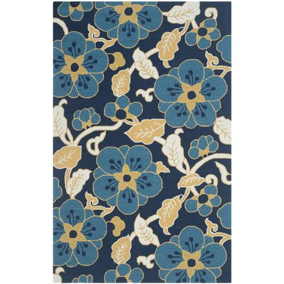 Doyle Navy/Yellow Floral and Plant Area Rug Rug Size: Rectangle 36 x 56