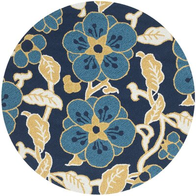 Ridgefield Navy/Yellow Floral and Plant Area Rug Rug Size: Round 4