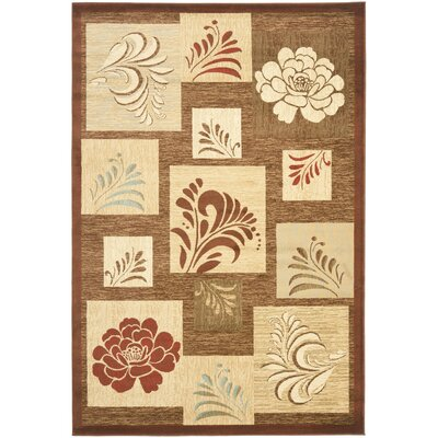 Southampton Brown Squared Area Rug Rug Size: Rectangle 53 x 76