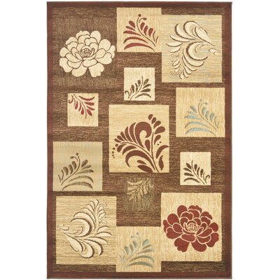 Southampton Brown Squared Area Rug Rug Size: 4 x 6