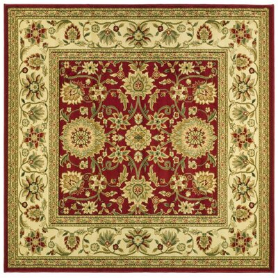 Ottis Red/Ivory Persian Area Rug Rug Size: Square 8