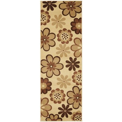 Rosario Ivory / Brown Contemporary Rug Rug Size: Runner 24 x 67