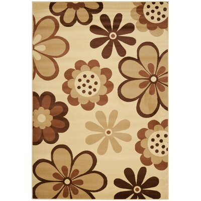Rosario Ivory / Brown Contemporary Rug Rug Size: 53 x 77