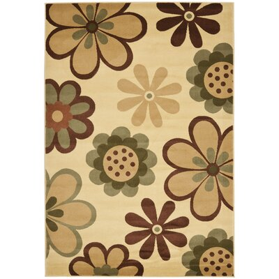 Rosario Contemporary Ivory Area Rug Rug Size: 53 x 77