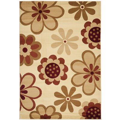 Rosario Ivory/Rust Area Rug Rug Size: 53 x 77