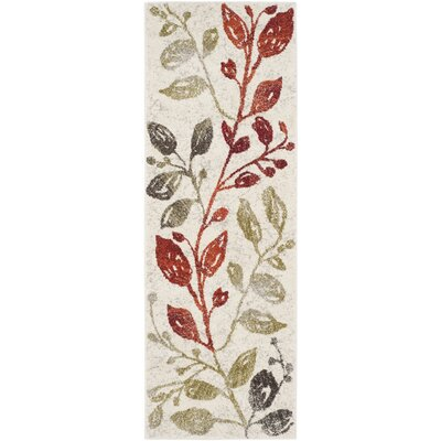 Rosario Ivory / Green Floral and Plant Rug Rug Size: Runner 24 x 67
