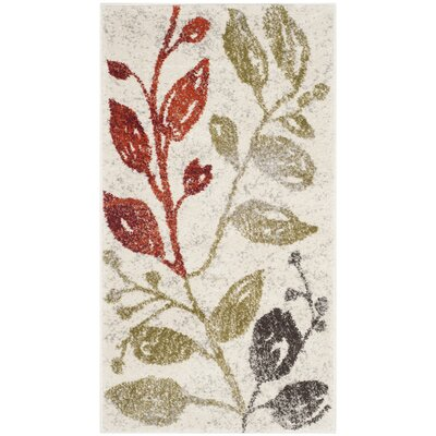 Rosario Ivory / Green Floral and Plant Rug Rug Size: Rectangle 27 x 5