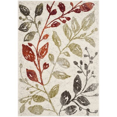 Rosario Ivory / Green Floral and Plant Rug Rug Size: Rectangle 4 x 57