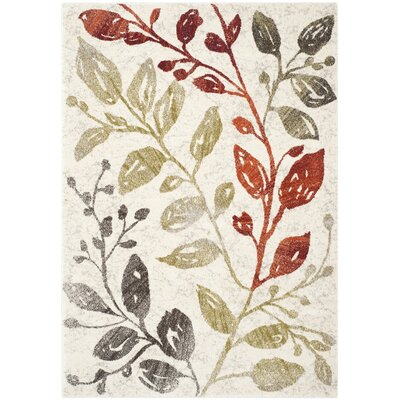 Rosario Ivory / Green Floral and Plant Rug Rug Size: 53 x 77