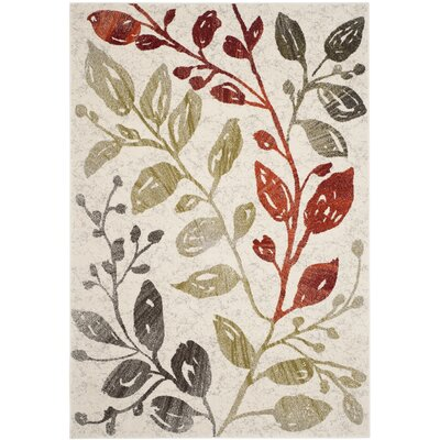 Rosario Ivory / Green Floral and Plant Rug Rug Size: Rectangle 67 x 96