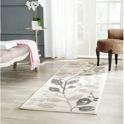 Stoney Brook Ivory/Grey Floral and Plant Rug Rug Size: Runner 27 x 5