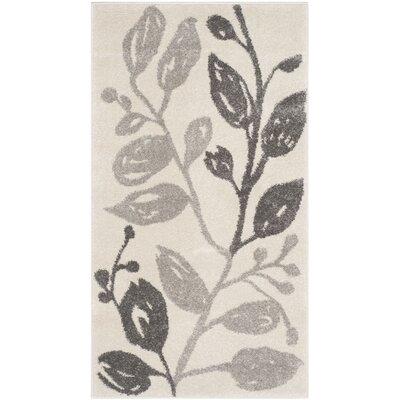 Rosario Ivory/Grey Floral and Plant Rug Rug Size: 53 x 77