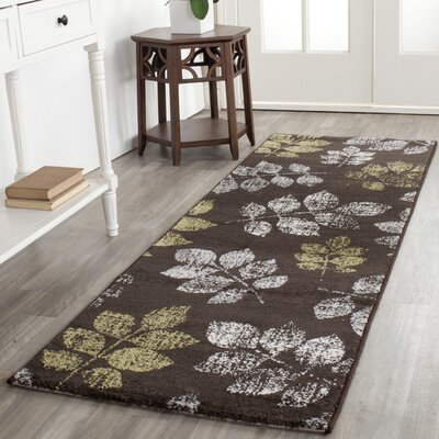 Rosario Brown/Green Loomed Area Rug Rug Size: Runner 24 x 67