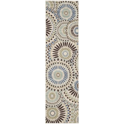 Tierney Cream/Blue Indoor/Outdoor Area Rug Rug Size: Rectangle 27 x 5