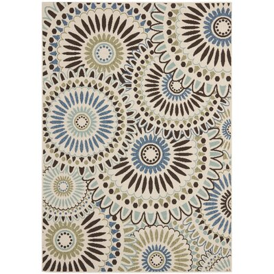 Tierney Cream/Blue Indoor/Outdoor Area Rug Rug Size: 53 x 77