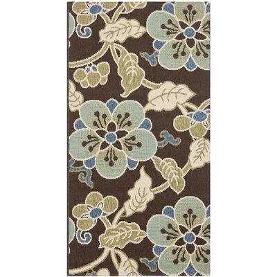 Tierney Chocolate/Aqua Indoor/Outdoor Area Rug Rug Size: Rectangle 27 x 5