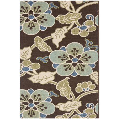 Tierney Chocolate/Aqua Indoor/Outdoor Area Rug Rug Size: 53 x 77
