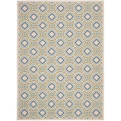 Tierney Cream & Green Inddor/Outdoor Area Rug Rug Size: Rectangle 27 x 5