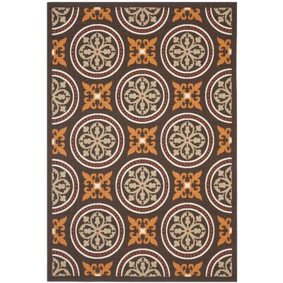 Tierney Chocolate/Terracotta Indoor/Outdoor Area Rug Rug Size: Rectangle 4 x 57