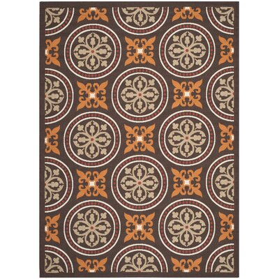 Tierney Chocolate/Terracotta Indoor/Outdoor Area Rug Rug Size: 8 x 112